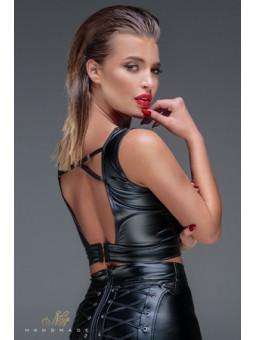 Top lacé wet look F155 - Sex shop la boutique du plaisir