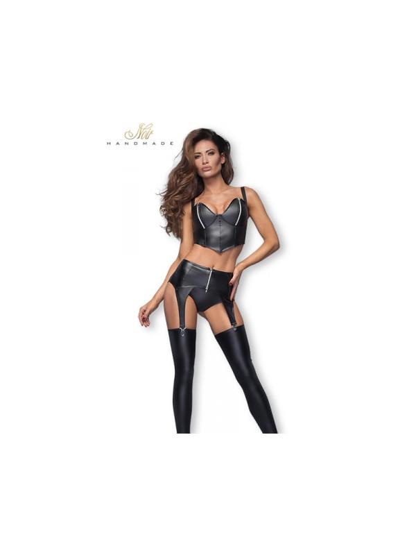 Porte-jarretelles F166 zip argent - Sex shop la boutique du plaisir