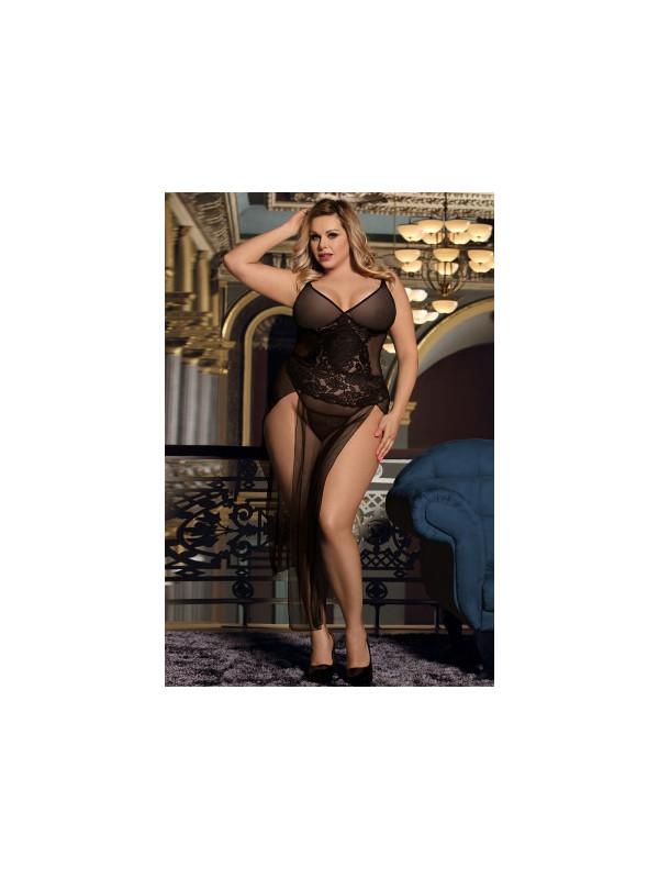 Nuisette longue noire transparente grande taille - Sex shop la boutique du plaisir