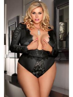 Body noir manches longues - grande taille- sex shop la boutique du plaisir
